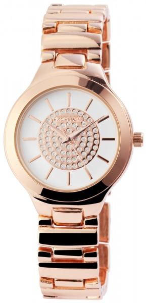 Excelland Damen-Uhr Metallarmband Clipverschluss Strass Rund Analog Quarz 1800081