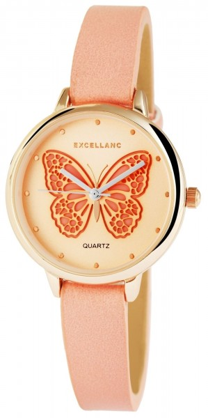 Excellanc Damen - Uhr Armbanduhr Analog Quarz Schmetterling Motiv 1900048