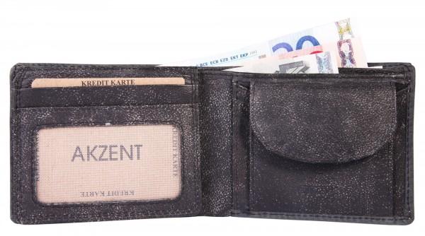 Akzent Herren - Geldbörse Leder Portemonnaie RFID Vintage Quer 11,5x9cm 3000265