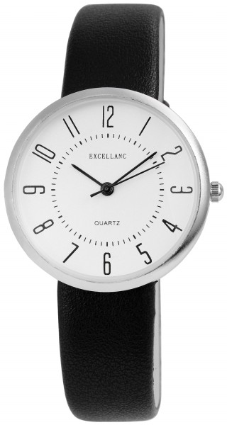 Excellanc Damen-Uhr Lederimitat Dornschließe Rund Analog Quarz 1900171