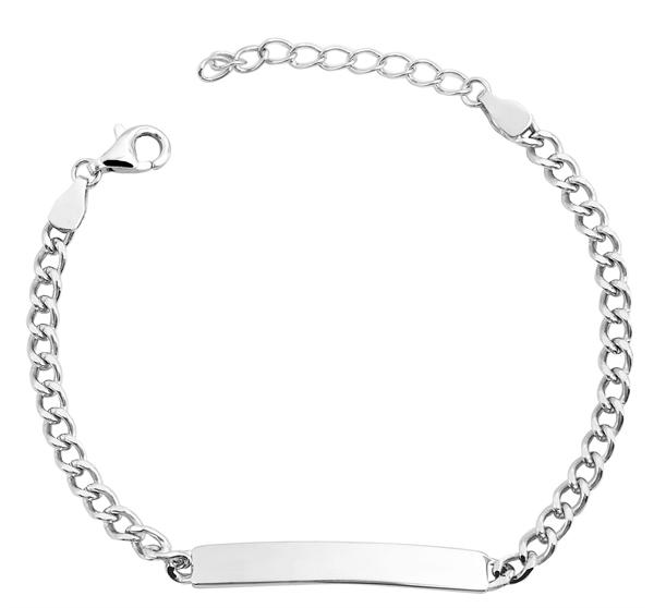 Echt Silber Armband , 17+3cm, 925/ rhodiniert, 3,2g