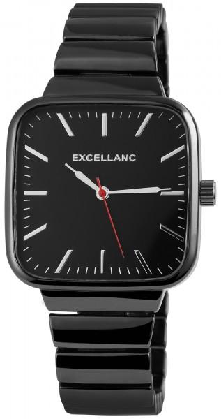Excellanc Herren-Uhr Metallarmband Faltschließe rechteckig Analog Quarz 2800030