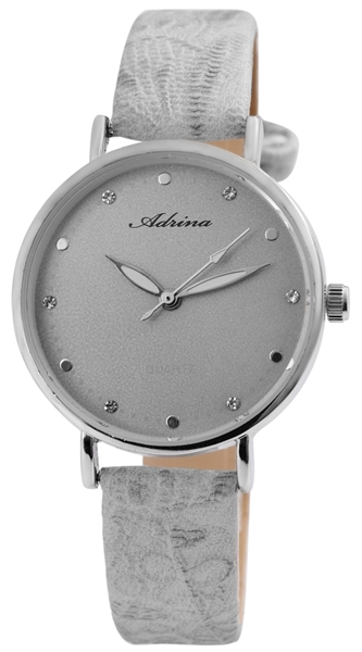 Adrina Damen - Uhr Silberfarbig Grau Analog Metall Lederimitat Quarz Armbanduhr 1900225