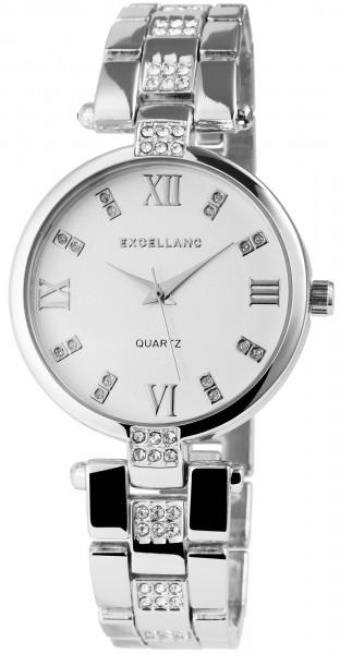 Excellanc Damen-Uhr Metallarmband Clipverschluss Strass-Steine Analog Quarz 1800069