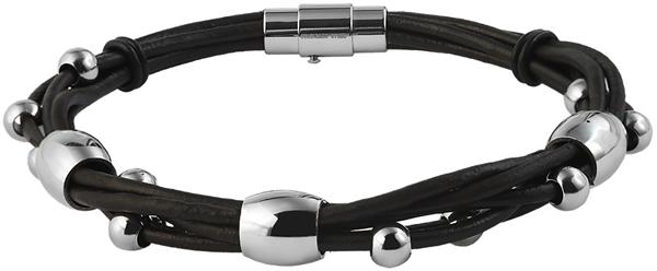 Akzent Echtleder Armband in Dunkelbraun mit Magnetverschluß, Länge: 22 cm - 003695000019