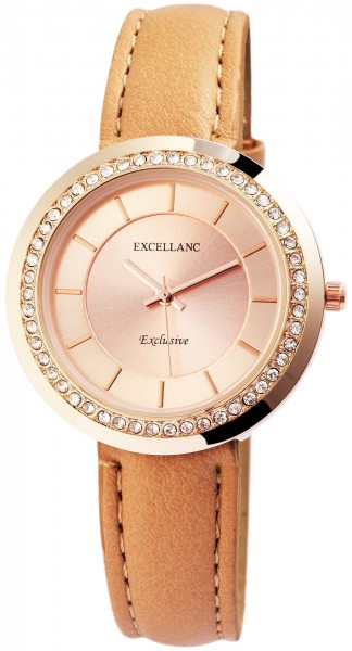 Excellanc Damen-Uhr Lederimitat Strass Dornschließe Analog Quarz 1900099