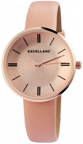 Excellanc Damen - Uhr Lederimitationsarmband Metall Analog Quarz 1900159