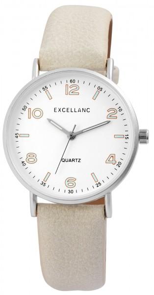 Excellanc Herren-Uhr Lederimitat Dornschließe Leuchtzeiger Analog Quarz 2900099