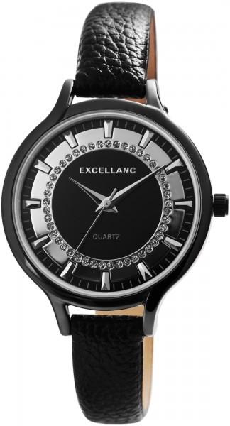 Excellanc Damen-Uhr Lederimitat Dornschließe Rund Strass Analog Quarz 1900237