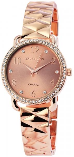 Excellanc Damen-Uhr Metallarmband Clipverschluss Strass Analog Quarz 1800080