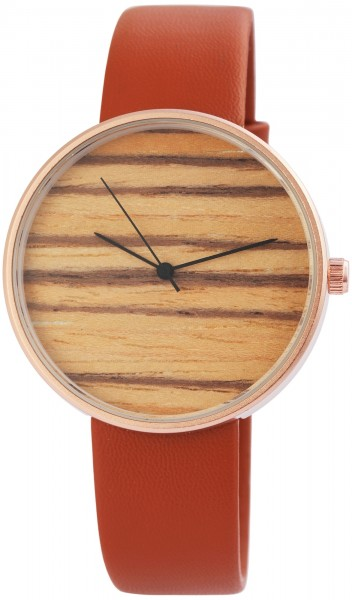 Excellanc Damen – Uhr Lederimitat Armbanduhr Holzoptik Analog Quarz 2910017