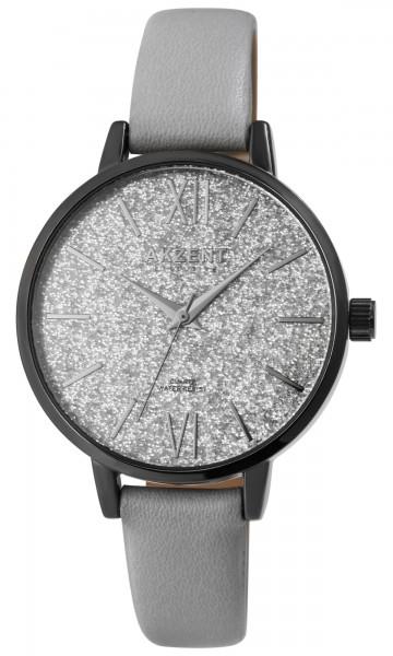Akzent Exclusive Damen - Uhr Lederimitat Armbanduhr Glitzer Analog Quarz 1900245