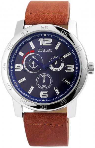 Excellanc Herren-Uhr Lederimitat Dornschließe Analog Quarz 2900093