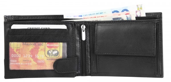 Dattini Herren – Geldbörse Echtleder Portemonnaie Brieftasche Quer 10x12x2 cm 3000361