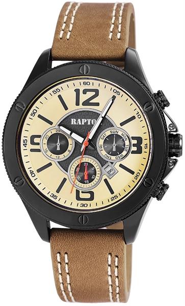 Raptor Herren-Uhr Armband Oberseite Echtleder Datumsanzeige Analog Quarz RA20187