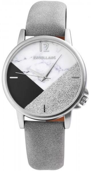 Excellanc Damen-Uhr Lederimitat Glitzer Marmoroptik Analog Quarz 1900164