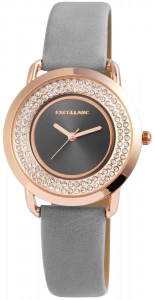 Excellanc Damen-Uhr Lederimitat Strass Dornschließe Analog Quarz 1900143