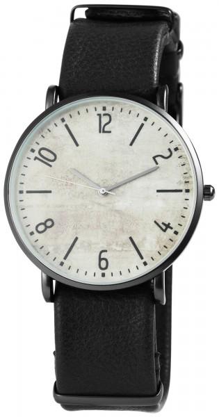 Excellanc Herren-Uhr Lederimitat Dornschließe Analog Quarz 2900065