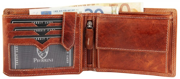 Pierrini Herren Leder Geldbörse in Cognac Braun im Querformat Reißverschlussfach Brieftasche