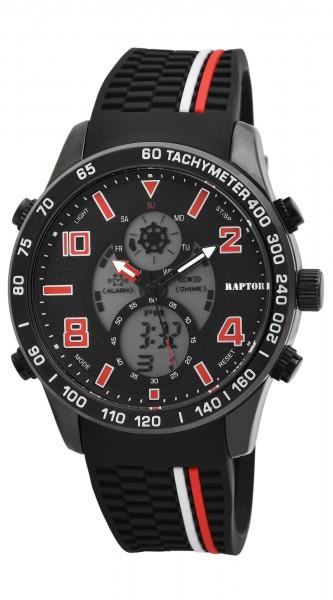Raptor Herren-Uhr Silikon Leuchtzeiger Multifunktion Digital Analog RA20261