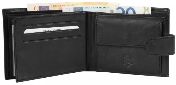 Excellanc Herren-Geldbörse Echt Leder 12 x 9 cm Querformat 3000187