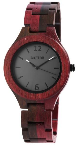 Raptor Damen - Holz Uhr Faltschließe Edelstahl Analog Quarz RA10191