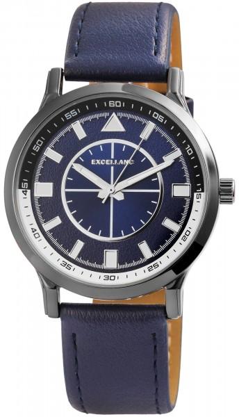 Excellanc Herren-Uhr Lederimitat Dornschließe Analog Quarz 2900111