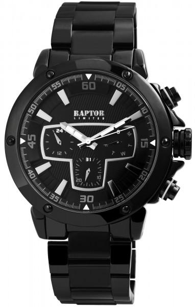 Raptor Limited Herren-Uhr Edelstahlband Armbanduhr Analog Quarz RA20215