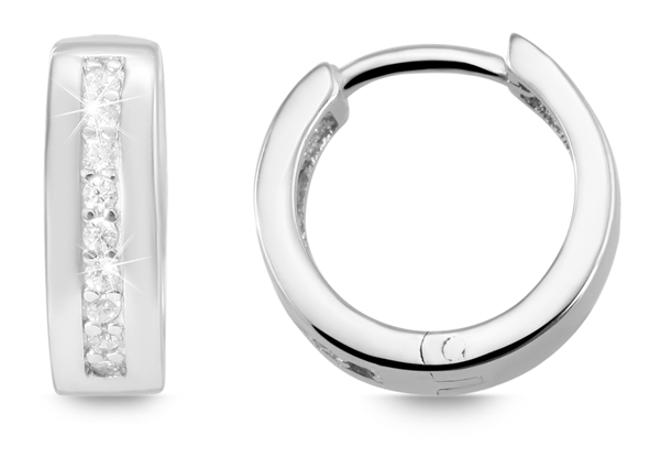 Giulia Luna Damen – Ohrringe 925er Silber rhodiniert Creole Strass GL5200062