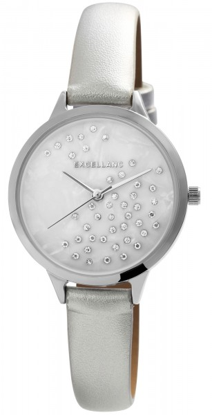 Excellanc Damen-Uhr Lederimitat Donschließe Strass Analog Quarz 1900240