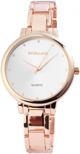Excellanc Damen-Uhr Metallarmband Clipverschluss elegant rund Analog Quarz 1800066