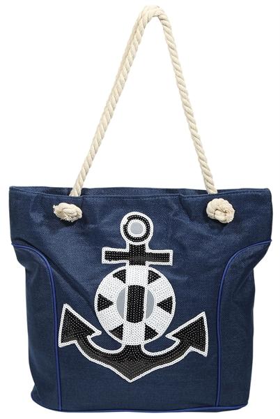 Damen Shopper / Strandtasche Anker Motiv Textilstoff 43x35x20 cm - 3600002