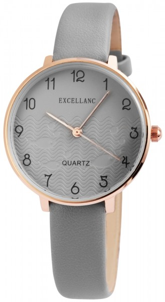 Excellanc Damen-Uhr Lederimitat Dornschließe Rund Analog Quarz 1900167