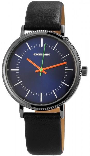 Excellanc Herren-Uhr Lederimitat Dornschließe Analog Quarz 2900110