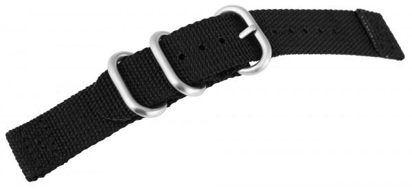 Uhrenarmband aus Nylon, schwarz mit Edelstahldornschließe
