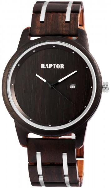 Raptor Herren-Holzuhr Holz Armbanduhr Datum Analog Quarz RA20239