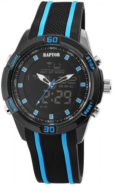 Raptor Herren-Uhr Analog-Digital Anzeige Quarzwerk mit Silikon Armband RA20032