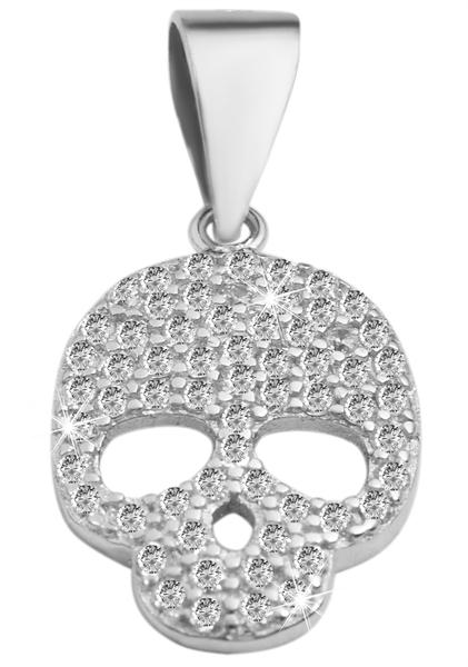 Giulia Luna-Halskette Anhänger Totenkopf Skull 925er Silber Strass GL5210065
