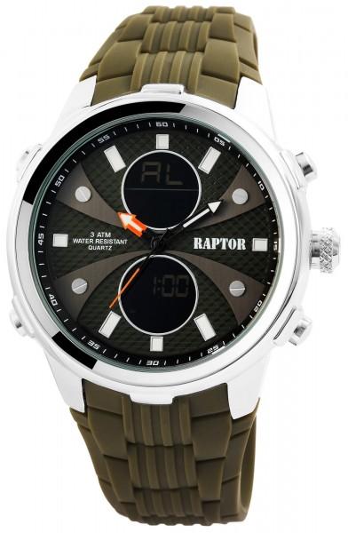 Raptor Herren-Uhr Analog-Digital Anzeige Quarzwerk mit Silikon Armband RA20027