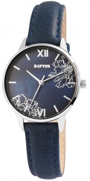 Raptor Damen-Uhr mit Echtleder Armband Elegant Blumen Analog Quarz RA10185
