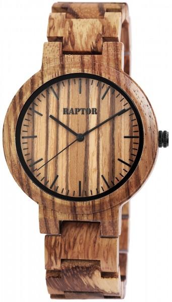 Raptor Herren-Holz Uhr Gliederarmband Faltschließe Analog Quarz RA20242