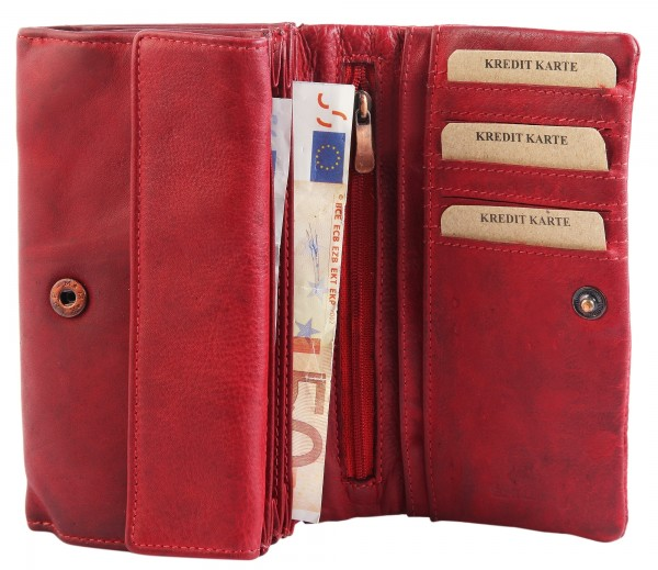 Raptor Damen-Geldbörse Echtleder Vintage Look Querformat 16x9cm RA40017