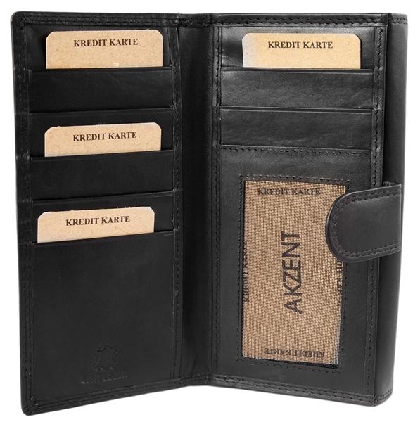 Akzent Damen - Geldbörse Echt Leder Portemonnaie Querformat 18 x 9,5cm 3000252