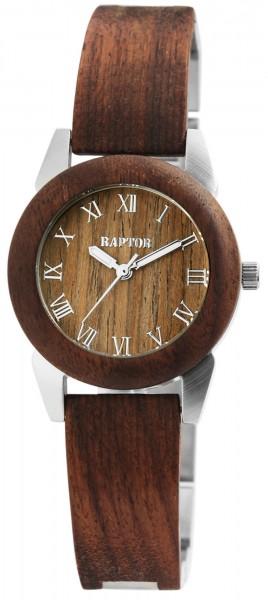 Raptor Damen-Uhr Holz Edelstahl Armbanduhr Faltschließe Analog Quarz RA10173