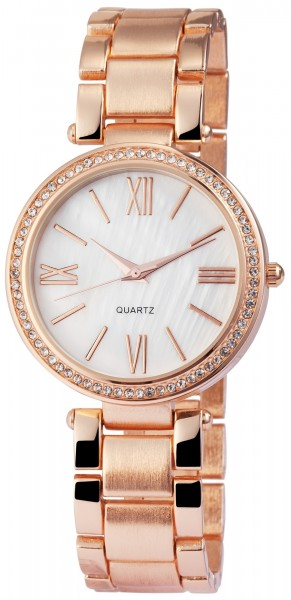 Excellanc Damen-Uhr Metallarmband Perlmutt Clipverschluss Analog Quarz 1800062