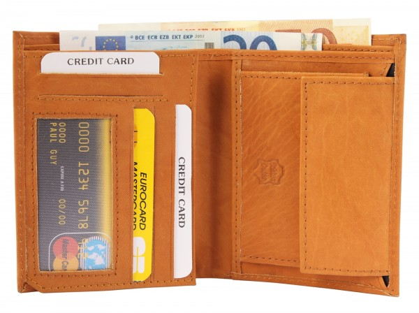 Excellanc Herren-Geldbörse Echt Leder 9,5 x 12 cm Hochformat 3000198