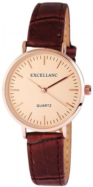 Excellanc Damen-Uhr Lederimitat Dornschließe Rund Elegant Analog Quarz 19000330