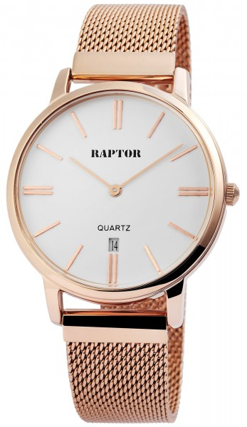 Raptor Damen-Uhr Lederarmband Datumsanzeige Dornschließe analog Quarz RA10003