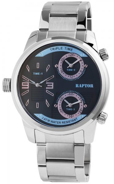 Raptor Herren-Uhr Edelstahl Armband Faltschließe 3 Zeitzonen Analog Quarz RA20296