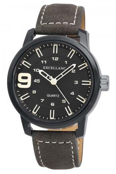 Excellanc Herren-Uhr Lederimitat Dornschließe Datum Analog Quarz 2900198